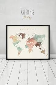 World Map Home Decor World Map Canvas Etsy