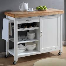 denver white kitchen cart with butcher block top