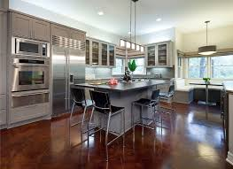 Polished Concrete Floors With Barstools And Inexpensive Kitchen Cabinets  For Kitchen Remodeling Ideas With Pendant Lights Also Banquette And Tile  Backsplash ...