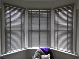 Estate grey wood venetian blinds | Bay window blinds | Brixton | Made to  measure |