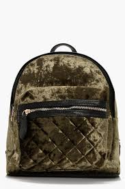 Boohoo Sarah Crushed Velvet Quilted Rucksack in Green | Lyst & Boohoo. Women's Green Sarah Crushed Velvet Quilted Rucksack Adamdwight.com