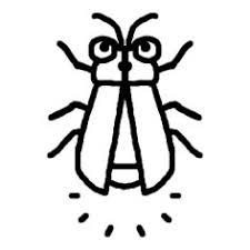 ホタル蛍白黒虫昆虫の無料イラストミニカットクリップアート素材