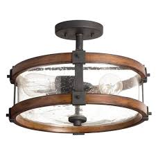 kichler lighting 3 light barrington distressed black and ballard wood clear glass semi flush mount