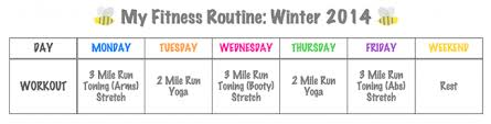 5 Day Workout Chart My Fitness Routine Winter 2014 Pretty Neat Living