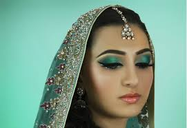 teal bridal makeup with blue glitter eyeliner tutorial indian asian stani contemporary wedding you