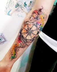 Like The Background But Different Types Of Compass Tattoo