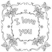 Ik Hou Van Je Citaat Volwassen Kleurplaat Valentijn Stockvectorkunst