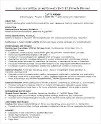Sample Resume Teachers Sample Elementary Teacher Resumes Resume