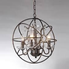 dover 4 light antique bronze sphere cage crystal chandelier globe fixture
