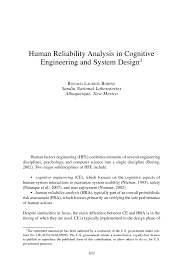Human Factors In Engineering And Design Book Human Reliability Analysis In Cognitive Engineering And