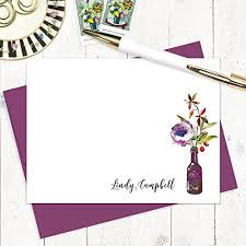 purple note cards amazon com personalized note cards watercolor flowers in purple