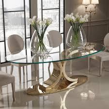 oval glass dining table. Designer 24 Carat Gold Plated Oval Glass Dining Table V