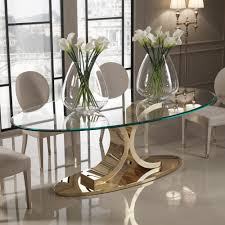 designer 24 carat gold plated oval glass dining table