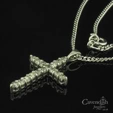 dazzling white gold platinum and diamond cross pendant necklace