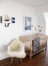 Nursery with white furniture Distressed Furniture Simple And Elegant White Rocking Chair For Nursery With Fur Seat Back Pad Wooden Crib Kevinjohnsonformayor Furniture Simple And Elegant White Rocking Chair For Nursery With