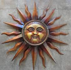 designs outdoor wall art: large copper sun face wall art patina exterior design outdoor home decorations round radiant sunburst