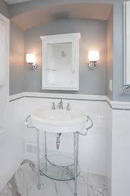 good looking american olean in bathroom traditional with pencil tile next to bathroom porcelain tile alongside gray paint color and gray wall white trim