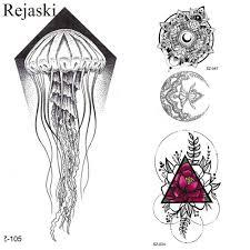 Rejaski маленький черный эскиз медузы татуировки детские наклейки на