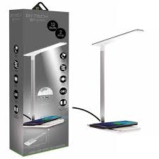 Bytech 12w24a Desk Lamp With Usb Port And Wireless Charging Pad White