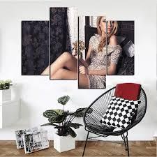 4 panel sexy girl canvas print wall art living room and bedroom decor on wall art bedroom decor with 4 panel sexy girl canvas print wall art living room and bedroom