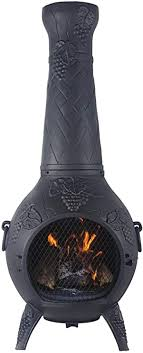 Amazon Com The Blue Rooster Cast Aluminum Grape Style Wood Burning Chiminea In Charcoal Garden Outdoor