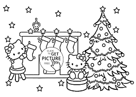 Christmas Hello Kitty Coloring Pages For Kids Printable Free