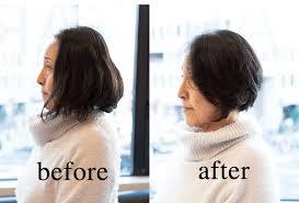 50代髪型前下がりのグラデーションボブビフォアアフター動画1 40代50