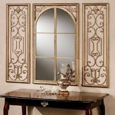 decorative wall mirror sets with scenic metal wall decor featuring wooden console table