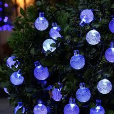 solar string lights outdoor globe lights 20ft 30 led fairy crystal ball lighting for