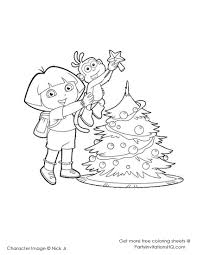 Dora And Boots Decorate Tree Coloring