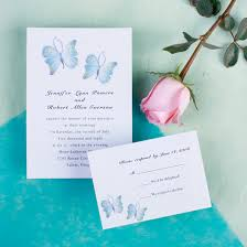 simple romantic blue erfly spring wedding invitations ewi100 blue erfly wedding reception cards ewi100