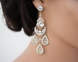gold chandelier earrings large statement wedding earrings wedding jewelry swarovski rhinestone bridal earrings majestic leona