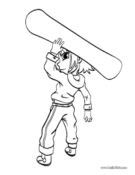 Boy With Snowboard Coloring Page More