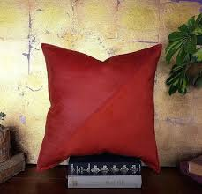 ready to ship red vegan leather fabric diagonal triangle by the yard pillow insert design look