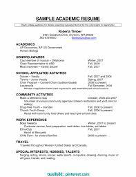 Academic Resume Template Fresh Academic Cv Example Us