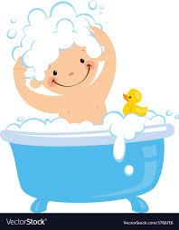 cartoon boy having bath washing hair vector image