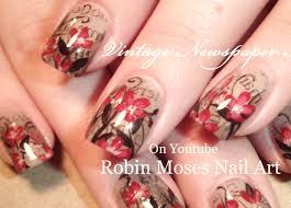 Vintage Newspaper Nails | Red Flowers Nail Art Design Tutorial ...