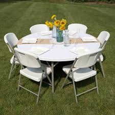 image of round plastic folding table