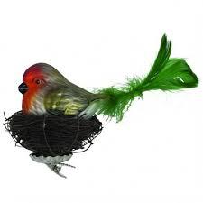 Vogel Auf Nest Grün 20cm Glas