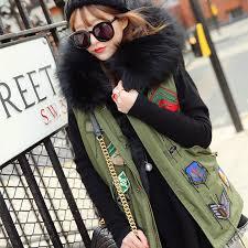 2016 women army green jacket vest badge logo winter coat street large rac faux fur collar
