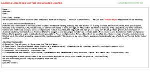 Welder Helper Job Description Welder Helper Job Offer Letter