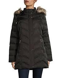 Kenneth Cole New York Womens Chevron Quilted Coat with Fur Hood at ... & Kenneth Cole New York Women's 176CD407 Chevron Down Jacket with Faux Fur  Trim - Black - Adamdwight.com