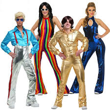 irek hot costume cosplay costume se performances clothing golden blue colored 70 s trendy disco costumes for groups of 4 family