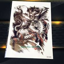1 шт крутой китайский дракон эскиз временные татуировки наклейки классные