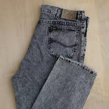 Vtg 80s 90s Lee Rider 36x32 Jeans Denim Straight Fit Tapered Leather Patch Black Gray Stone Acid Wash