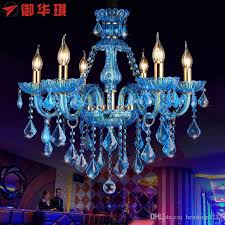 luxury clear glass crystal chandelier blue red color chandelier and pendent for art glass chandelier