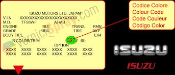 Isuzu Colour Chart All Colour Codes For Isuzu