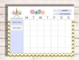 Editable Reward Chart Unicorn Chore Chart Editable Chore Chart Editable Behavior