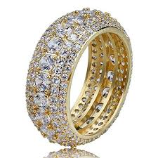 TOPGRILLZ 5 Rows 10mm Gold Plated Iced Out <b>CZ</b> Royal Eternity ...