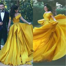 <b>Elegant Yellow Evening Formal</b> Dresses <b>2019</b> Off Shoulder Prom ...
